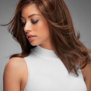 Fashion Women Straight Mid-length Remy Human Hair Lace Front Wig Mono Top