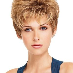 High End Women Short Straight Blonde Pixie Synthetic Wig Basic Cap