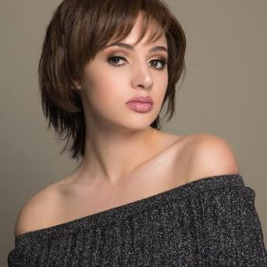 High End Women Short Straight Human Hair/ Synthetic Blend Wig By Rooted