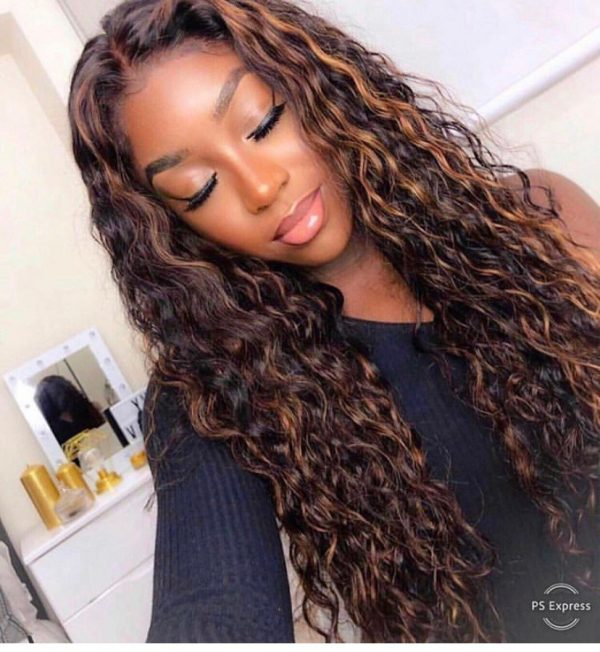 Fashion Women Long Curly Lace Front Human Hair Bacic Cap Synthetic Wig