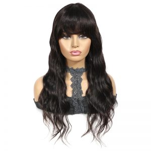 Hot Sale Women Long Wavy Human Hair Synthetic Basic Cap Average Wig