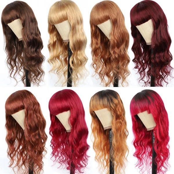 Hot Sale Women Long Wavy Human Hair Synthetic Basic Cap Average Wig