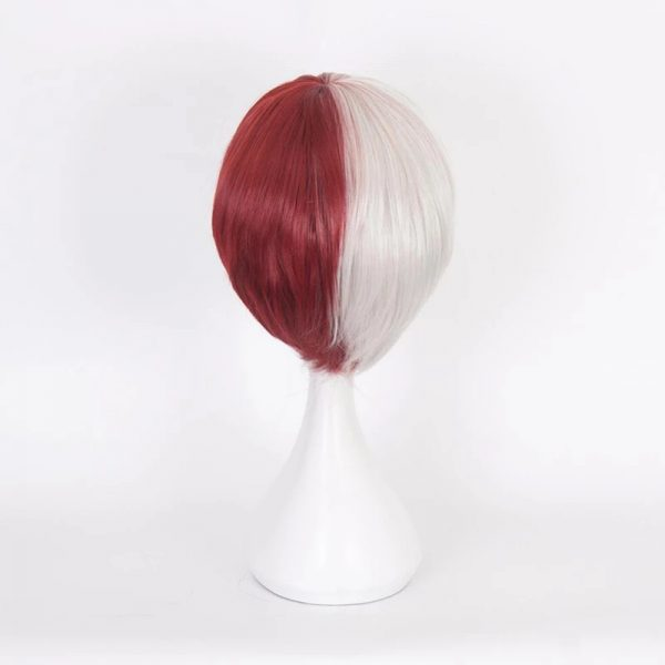 Fashion Men Short Straight Bacic Cap Red And White Lace Front Synthetic Wig