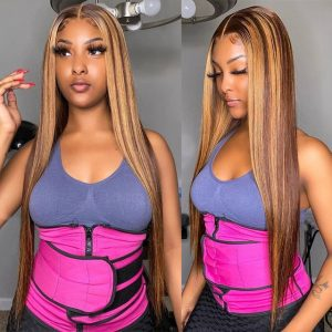 Best Women Long Straight Bacic Cap Human Hair Lace Front Synthetic Average Wig
