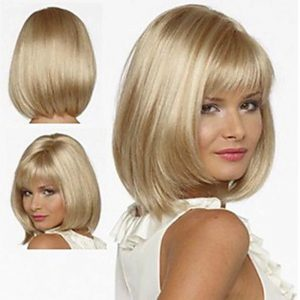 Low Price Women Short Straight White Average Bacic Cap Synthetic Wig