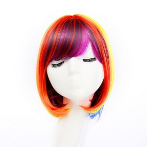 Popular Women Short Straight Human Hair Wig Average Bacic Cap Synthetic Wig