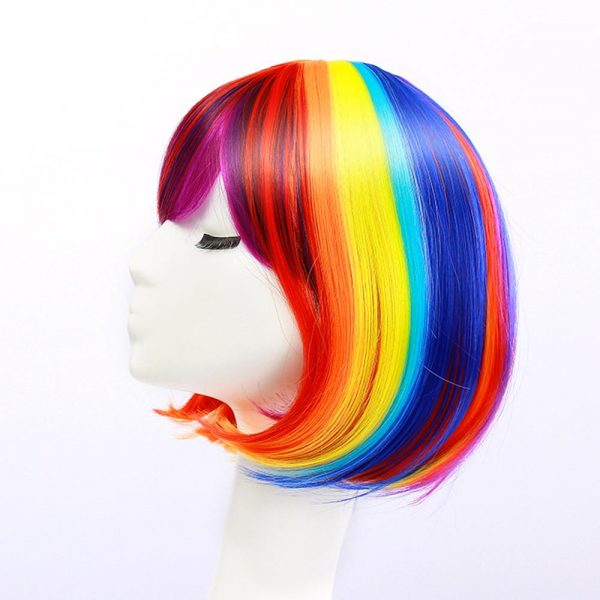 Popular Women Short Straight Human Hair Wig Average Bacic Cap Synthetic Wig