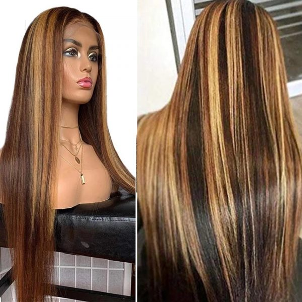 Best Women Long Straight Human Hair Lace Front Average Bacic Cap Synthetic Wig