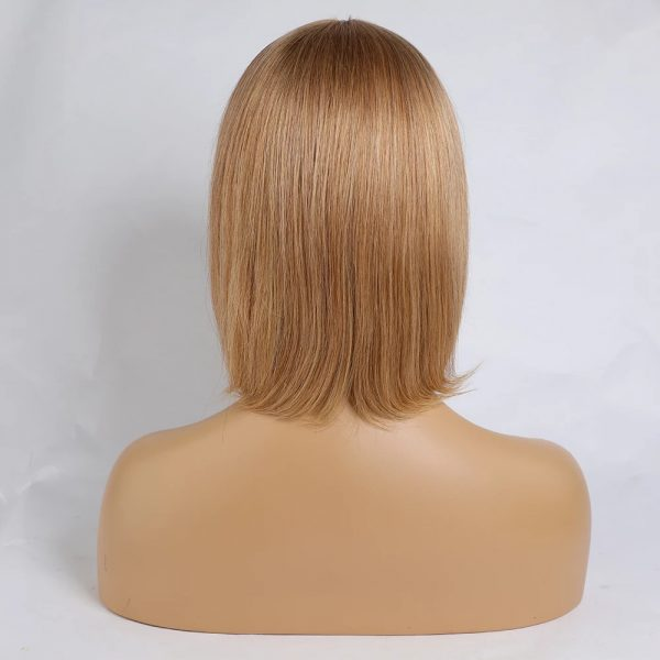 Popular Women Short Straight Blonde Human Hair Synthetic Average Bacic Cap Wig