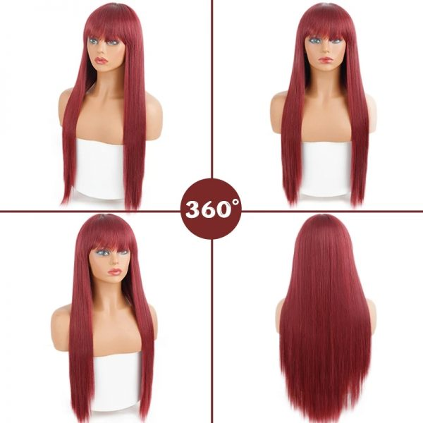 Fashion Women Long Straight Wine Red Basic Cap Average Synthetic Wig