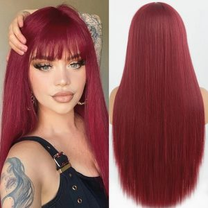 Fashion Women Long Straight Wine Red Basic Cap Average Synthetic Wig
