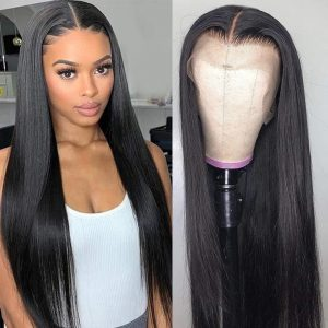 Fashion Women Long Straight Lace Front Human Hair Bacic Cap Synthetic Wig