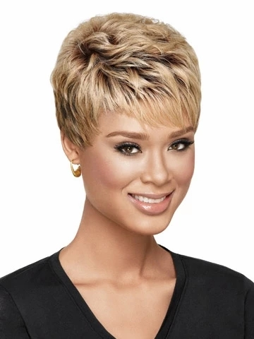 Low Price Women Short Curly Blonde Heat Bacic Cap Synthetic Wig