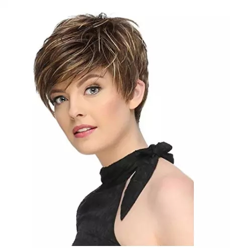 Popular Women Short Straight Mix-Brown Average Synthetic Basic Cap Wigs