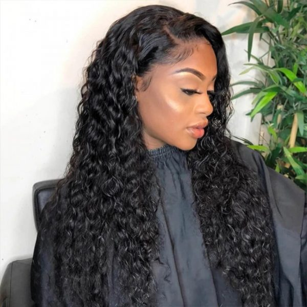 High Quality Women Long Curly Lace Front Human Hair Bacic Cap Synthetic Wig
