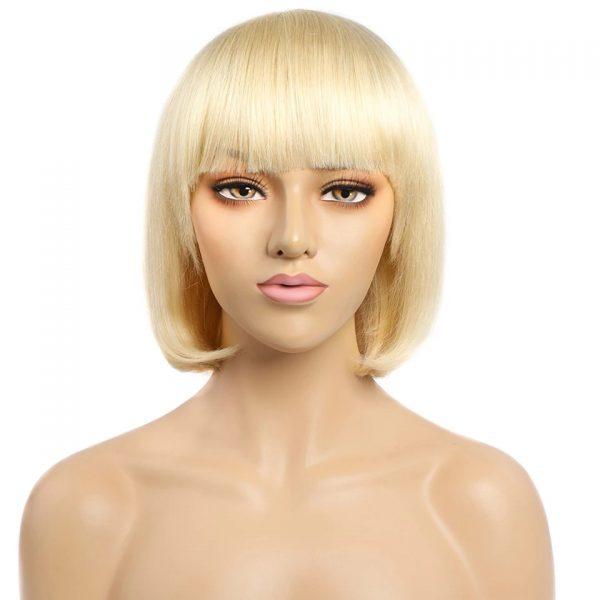 High Quality Women Short Straight Human Hair Synthetic Basic Cap Wig