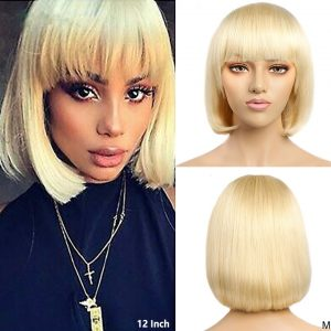 High Quality Women Short Straight Human Hair Synthetic Basic Cap Wig
