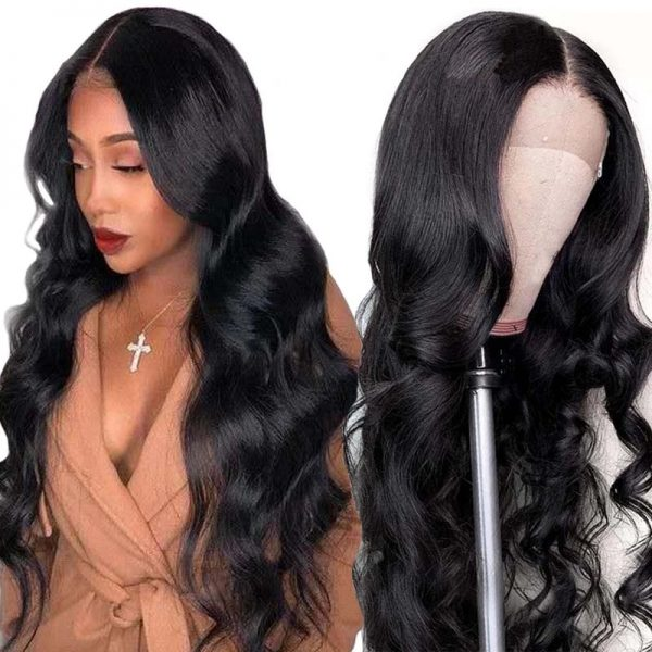 Hot Sale Women Long Wavy Lace Front Human Hair Bacic Cap Synthetic Wig