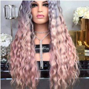 Fashion Women Long Curly Bacic Cap Human Hair Synthetic Wig