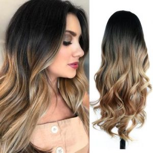 Fashion Women Long Wavy Human Hair Bacic Cap Synthetic Wig