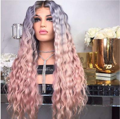 Fashion Women Long Curly Bacic Cap Human Hair Synthetic Wig