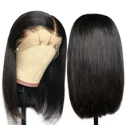 High Quality Women Short Straight Human Hair Bacic Cap Synthetic Wig