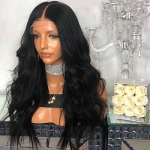 Fashion Women Long Wavy Basic Cap Human Hair Synthetic Wig