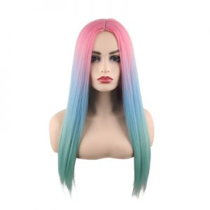 High Quality Women Long Straight Bacic Cap Human Hair Synthetic Wig