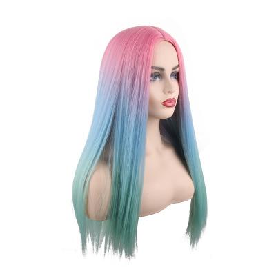 High Quality Women Long Straight Bacic Cap Human Hair Synthetic Wig