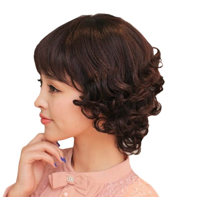 Hot Sale Women Short Curly Black Lace Front Synthetic Bacic Cap Wig