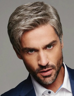 Best Men Short Straight Bacic Cap Lace Front Human Hair Synthetic Wig