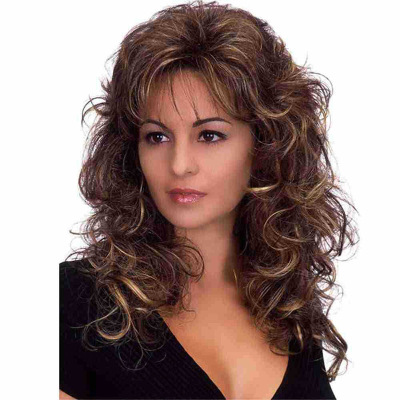 High Quality Women Long Wavy Bacic Cap Human Hair Synthetic Wig