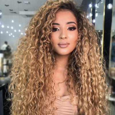 Low Price Women Long Curly Bacic Cap Synthetic Wig