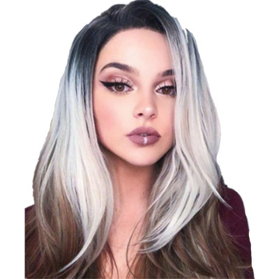 Best Women Long Straight Lace Front Human Hair Synthetic Bacic Cap Wig