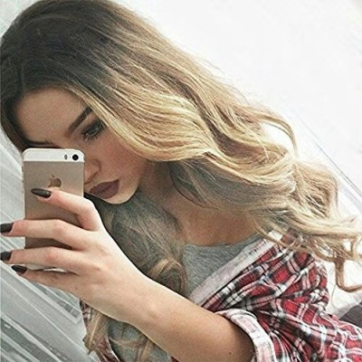 Top Quality Women Long Wavy Human Hair Synthetic Bacic Cap Wig