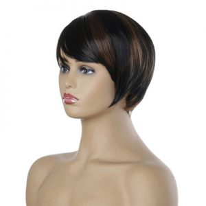 Top Quality Women Short Straight Basic Cap Human Hair Synthetic Wig