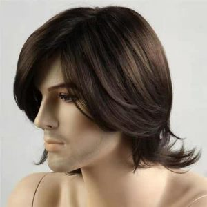 Fashion Men Short Straight Human Hair Synthetic Bacic Cap Wig