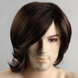 Fashion Men Short Straight Human Hair Synthetic Bacic Cap Wig