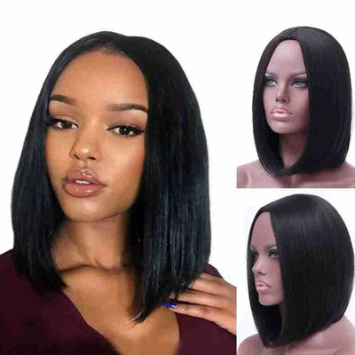 Popular Women Short Straight Lace Front Basic Cap Human Hair Synthetic Wig